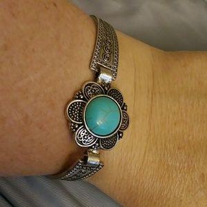 Tribal Silver Plated Turquoise Flower Bracelet